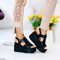 """Жіночі стильні босоніжки на платформі Чорні """"Mindi"""", фото 1"""