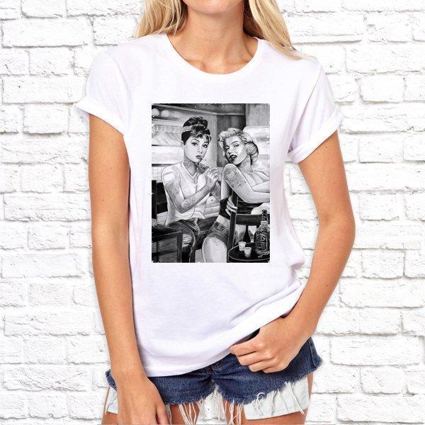 Жіноча футболка з принтом, Дівчина б'є тату, Swag SKL75-293135