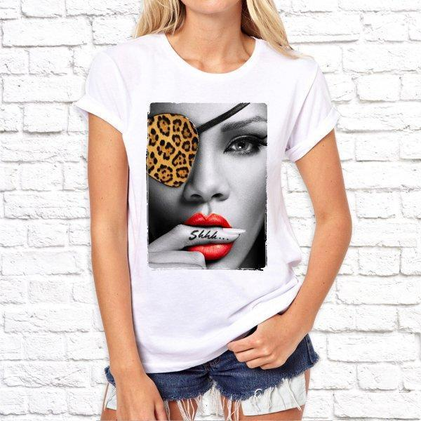 Женская футболка с принтом девушки с пальцем во рту, Swag SKL75-293170