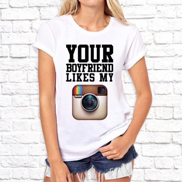 Женская футболка с принтом, Swag Your boyfriendikes my SKL75-293185
