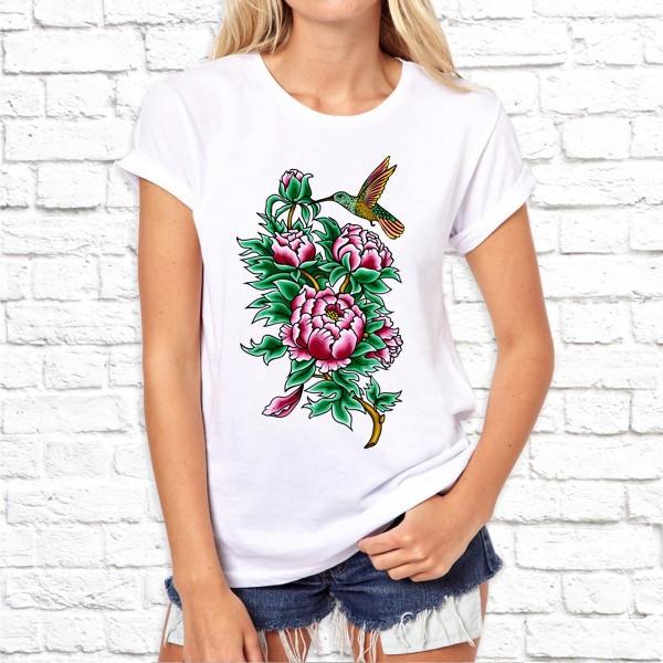 Жіноча футболка з принтом Колібрі в кольорах SKL75-293251