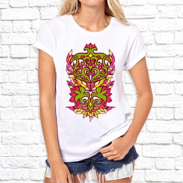 Женская футболка с Оригинальным орнаментом SKL75-293252