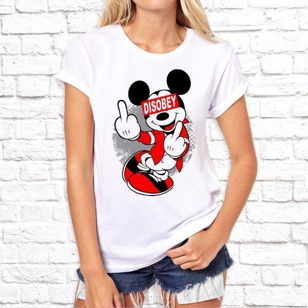 Женская футболка с принтом, Swag Mickey Mouse (Микки Маус) Disobey SKL75-293266