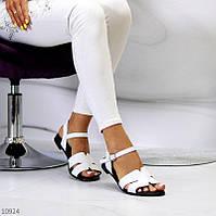"""Женские кожаные босоножки на низком ходу Белые """"Linda"""", фото 1"""