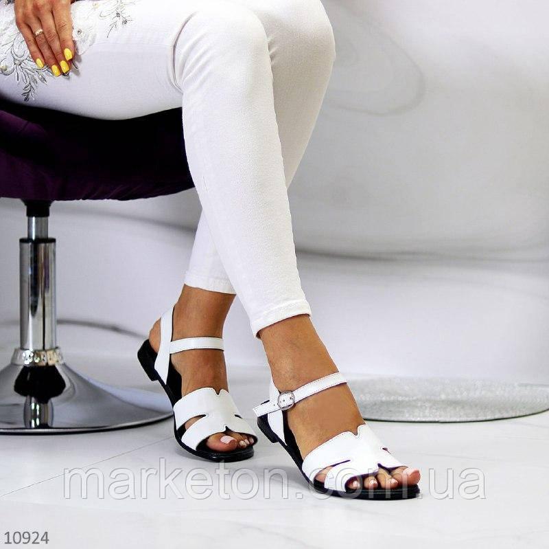 """Женские кожаные босоножки на низком ходу Белые """"Linda"""""""