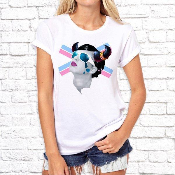 Женская футболка с дизайнерским принтом SKL75-293323