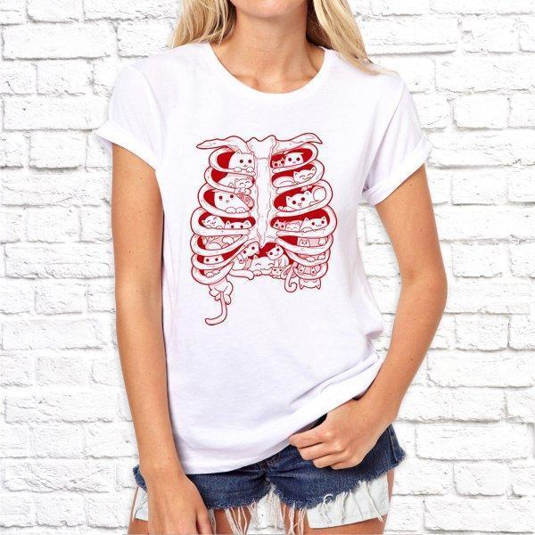 Женская футболка с дизайнерским принтом Ребра SKL75-293324