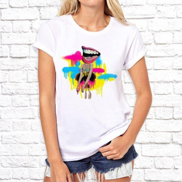 Жіноча футболка з дизайнерським принтом SKL75-293325