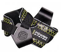 Спортивные крюки для тяги на запястья Power System Hooks V2 PS-3360 Bl/Yellow Черно-желтый XL