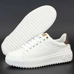 Женские кроссовки Louis Vuitton Time Out Sneaker, кожа, белый, коричневый, Италия 40