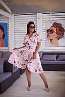 Женское летнее шелковое платье на запах, фото 1