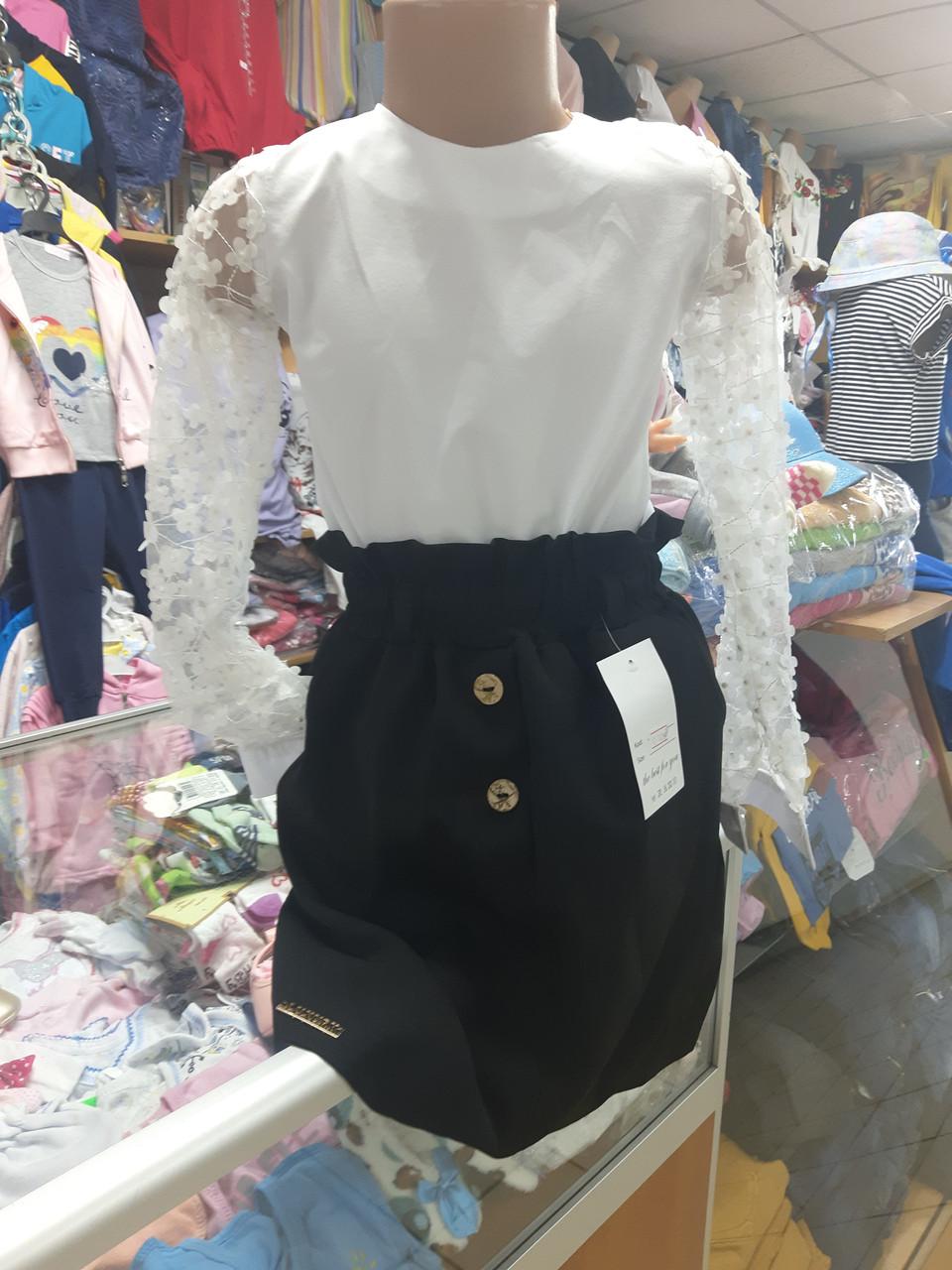 Шкільний костюм для дівчинки біла блузка спідниця р. 122 - 146