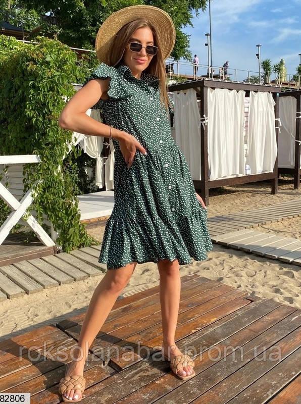 Жіноча літня зелена сукня з милим принтом