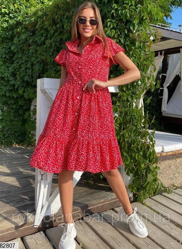 Жіноча літня червона сукня з милим принтом
