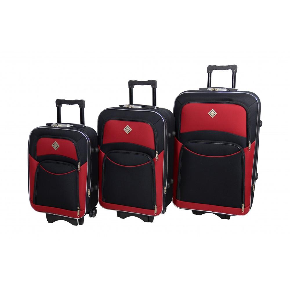 Набір валіз 3 шт Bonro Style чорно-вишневого кольору