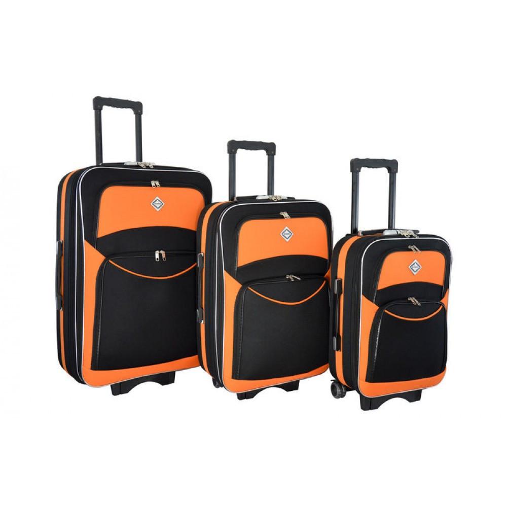 Валізи комплект 3 шт Bonro Style чорни з оранжевим