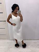 Жіночий білий лляний сарафан міді, фото 1
