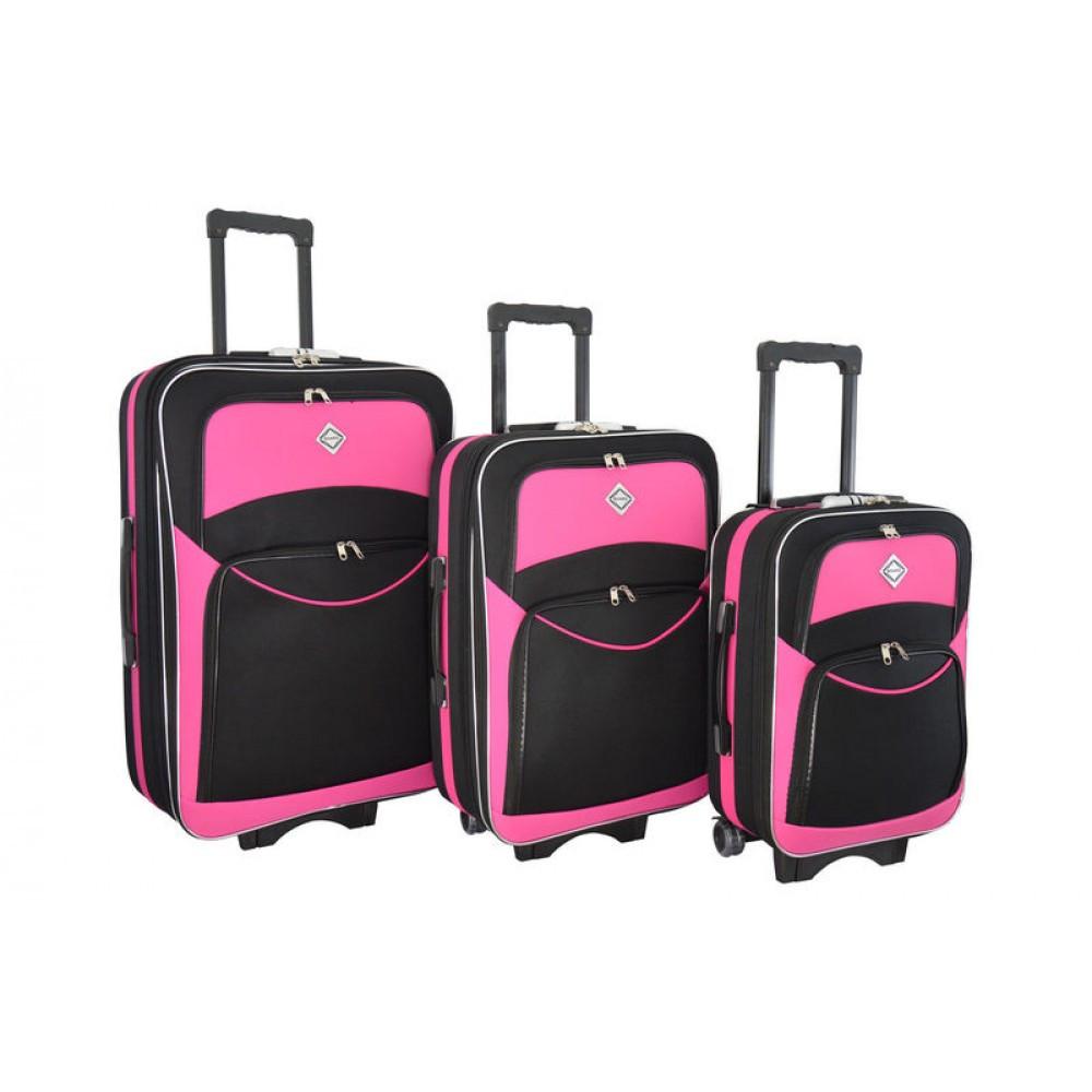 Чемоданы комплект 3 шт Bonro Style черный с розовым
