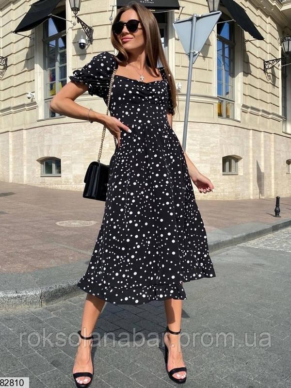Неймовірна літня сукня міді чорна в дрібний горошок