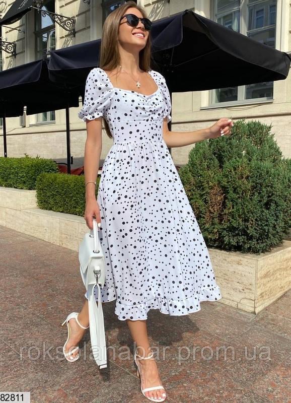 Изящное летнее платье миди белое в мелкий горошек
