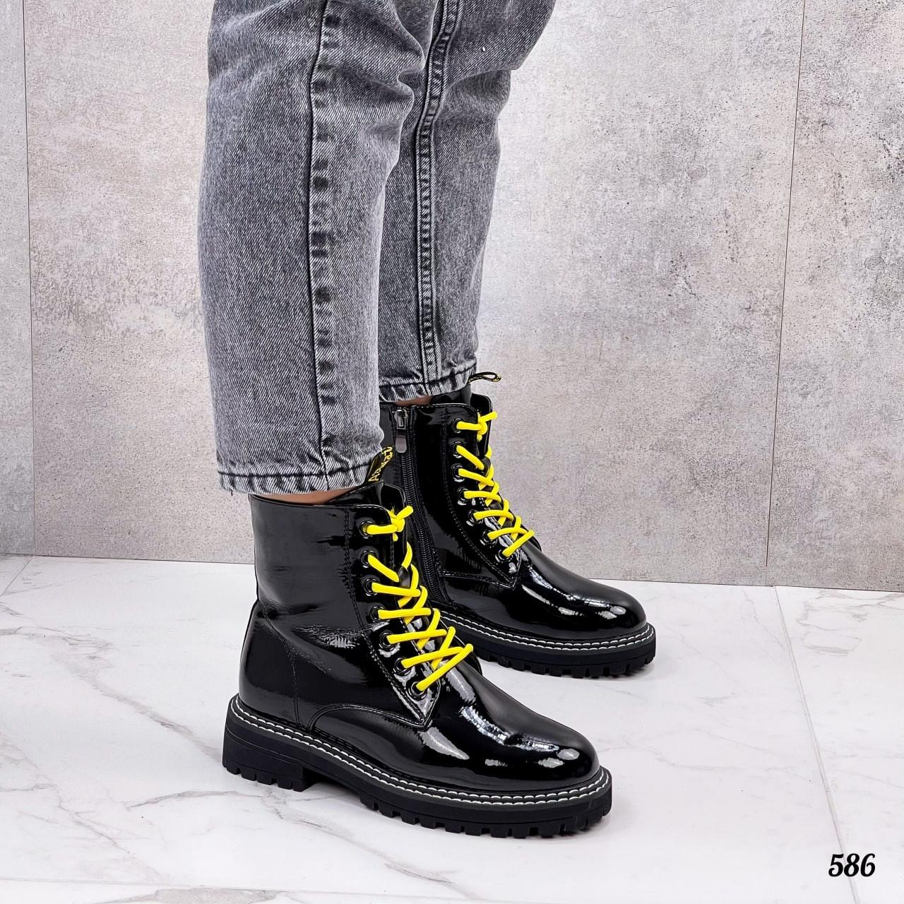 ТОЛЬКО 36,37,41 р!!! Женские ботинки ДЕМИ черные с желтым эко лак весна /осень