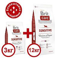 Brit Care Sensitive Venison & Potato 12кг+3кг гіпоалергенний корм для собак з олениною