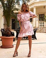 Женское летнее платье с открытыми плечами и воланом, фото 1