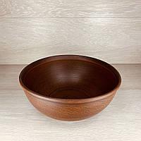 Макітра з кришкою глиняна 3,5 л різьблений візерунок, ангоб, фото 1