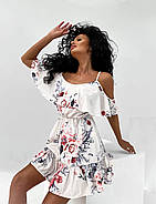 Жіноче плаття коротке з воланами, талія на резинці, відкриті плечі, фото 3