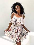 Жіноче плаття коротке з воланами, талія на резинці, відкриті плечі, фото 2