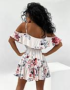 Жіноче плаття коротке з воланами, талія на резинці, відкриті плечі, фото 4