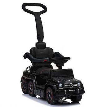 Детский электромобиль-каталка Rivertoys Mercedes-Benz шестиколесный с двумя сиденьями черный