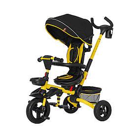 Велосипед трехколесный с родительской ручкой TILLY FLIP T-390 Черно-желтый | Велосипед-коляска