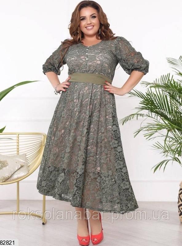 Літня жіноча мереживна сукня XL кольору хакі