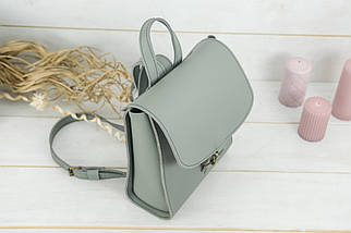 Женский кожаный Рюкзак Венеция, размер мини, натуральная натуральная кожа Grand цвет Серый, фото 3