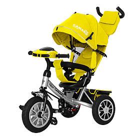 Велосипед трехколесный с родительской ручкой TILLY Camaro T-362/2 Желтый | Велосипед-коляска
