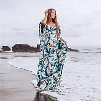 Туника пляжная женская длинная с рисунком большого размера