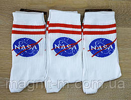 """Чоловічі високі шкарпетки білого кольору """"Marley"""". """"NASA"""" .Р-Р 39-42."""