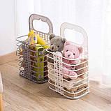 Складана корзина для зберігання білизни органайзер з пластику в дитячу ванну кімнату і спальню, фото 9