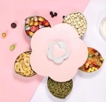 Вращающаяся тарелка органайзер для закусок Candy Box 1 ярус, Универсальная Менажница для фруктов
