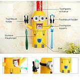 """[ОПТ] Дозатор зубної пасти """"Міньйон"""" з тримачем зубних щіток. Диспенсер для зубної пасти """"Міньйон"""", фото 5"""