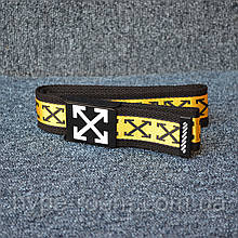 Ремень Off White crosses Black Yellow 115см