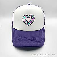 Бейсболка кепка фиолетового цвета с сердцем