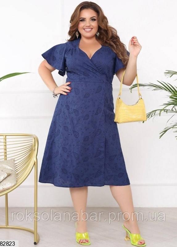 Летнее женское синее платье XL из натурального льна с вышивкой и прошвой