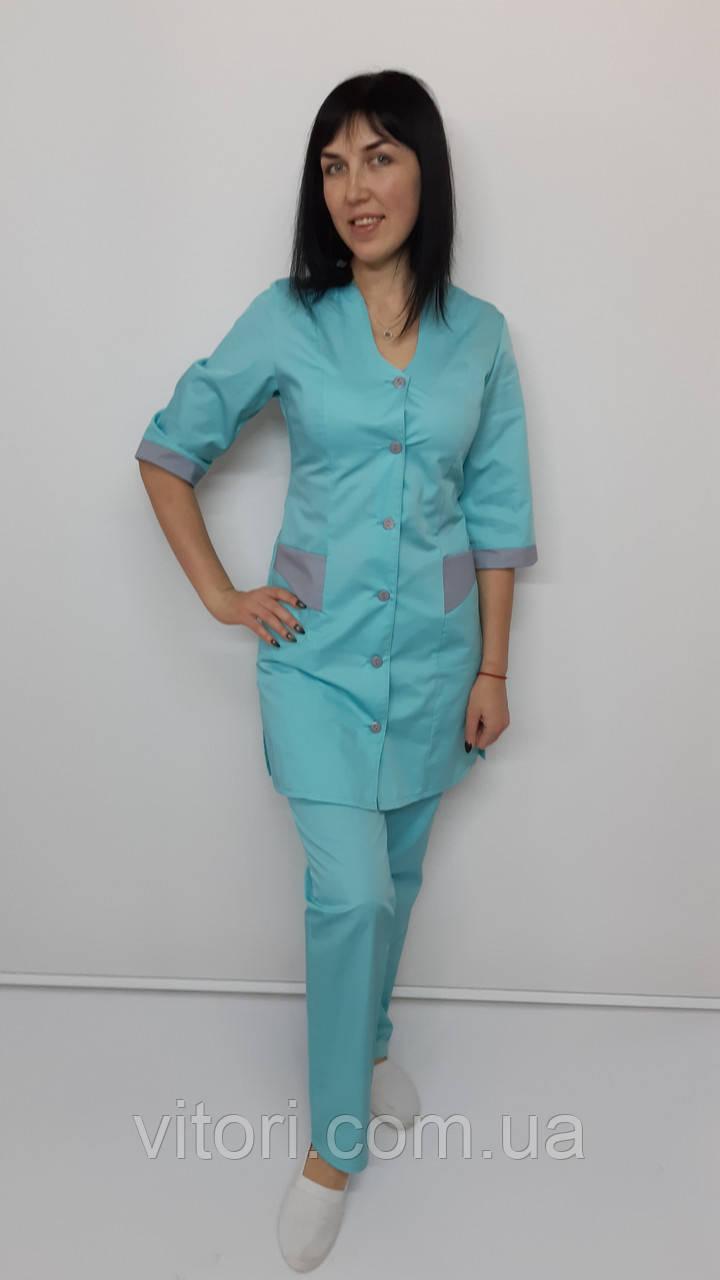 Женский медицинский костюм Волна  хлопок три четверти рукав