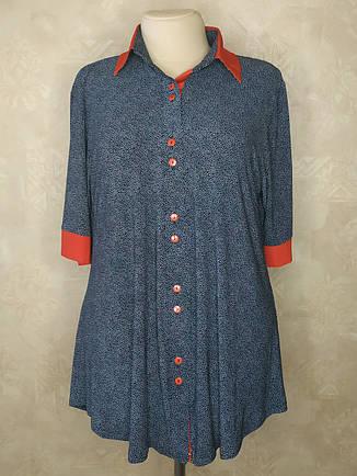 Трикотажная рубашка больших размеров в мелкий горох, фото 2
