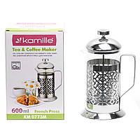 Заварник френчпресс Kamille 600мл для чаю і кави KM-0773M