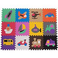 Дитячий килимок пазл SP-Planeta ігровий для занять спортом Транспорт 12 шт 30 х 30 см Різнобарвний (C-3539)