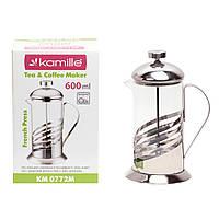Заварник френчпресс Kamille 600мл для чаю і кави KM-0772M