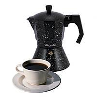 Гейзерна кавоварка Kamille 150мл з алюмінію з широким індукційним дном Мармур KM-2511MR
